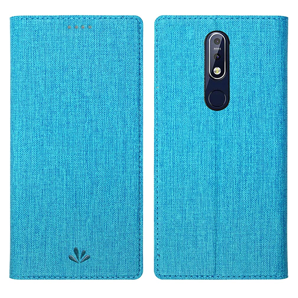 Simicoo Nokia 7.1 Flip PU Leather Slim Wallet case Card Holster Stand Magnetic Cover Clear Silicone TPU Full Body Shockproof Pocket Thin Wallet Case for Nokia 7.1 2018 (Blue, Nokia 7.1)