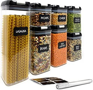 Airtight Food Storage Containers by Simply Gourmet. 7-Piece Kitchen Storage Containers BPA Free + FREE 16 Chalkboard Labels & Marker. Airtight Storage Containers Storage Set for pantry organization