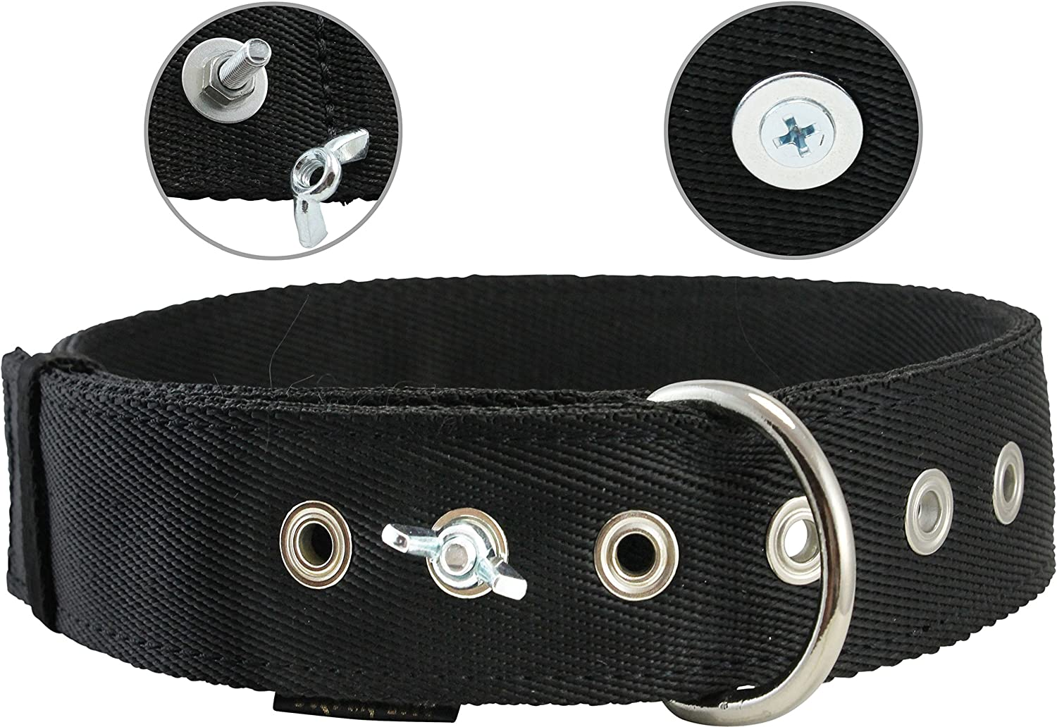 Bolted Heavy Duty Extra Wide Triple Layer Tie Out Dog Collar for Medium to Large Dogs 15 19  Neck, 1.6  Wide (Black)