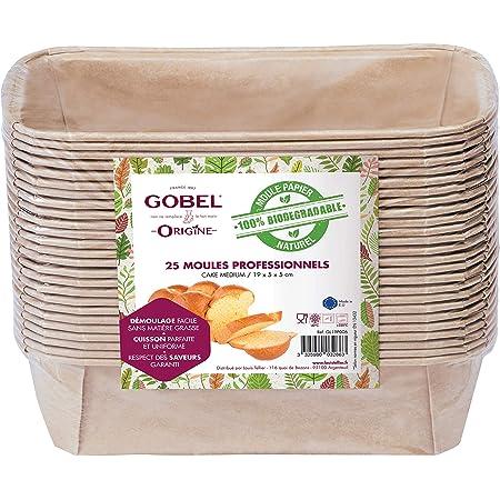 GOBEL - Pack de 25 Moules Professionnels Cakes - Moules Jetables en Papier Naturel 100 % Biodégradable - Adaptés au Four, Réfrigérateur, Congélateur - Démoulage Facile