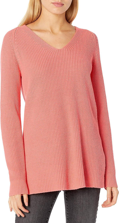 Goodthreads Women's Cotton Shaker Stitch Deep V-Neck Sweater