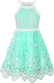 Girls Dress Turquoise Embroidered Halter Dress Party