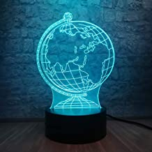 3D Night Light for Boys 3D Earth Globe LED Lamp Night Light Multicolor Gradient Acrylic USB Lamp Abstract Geometry Modern ...