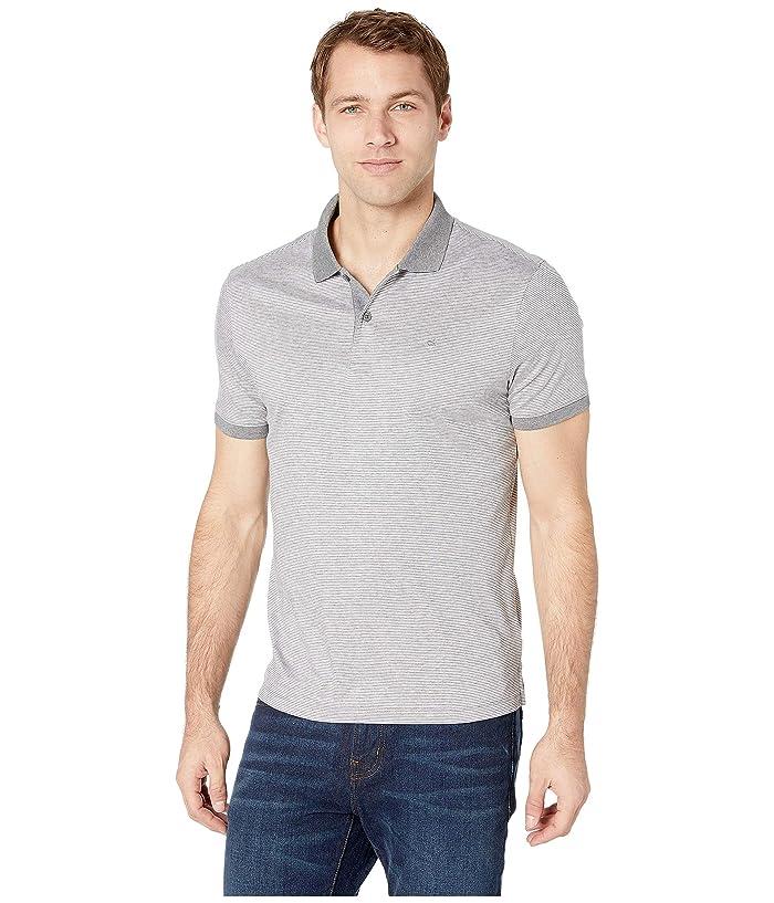 Calvin Klein S/S 2 Button Liquid Cotton Interlock Polo (Standard White Combo) Men