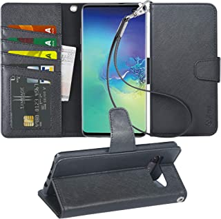 Arae Case Compatible for Samsung Galaxy S10 Plus / S10+, PU Leather Wallet case [Stand Feature] with Wrist Strap and [4-Slots] ID&Credit Cards Pockets [not for S10] - Black