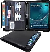 Portfolio Padfolio Organizer PU Leather Folder Zippered Binder Card Holder Resume Interview Document Folder Planner Notebook Pocket iPad/Tablet Sleeve Writing Pad Business Professionals (Black)