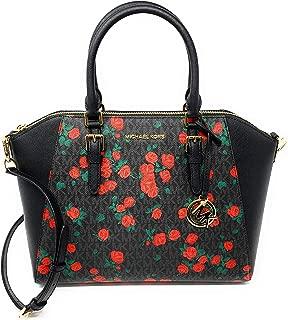 Ciara Large Top Zip Satchel Bag - Floral Black/Red