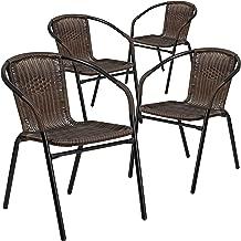 Flash Furniture 4 Pk. Medium Brown Rattan Indoor-Outdoor Restaurant Stack Chair