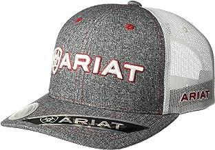 ARIAT Mens Hat Baseball Cap Mesh Back Logo Patch Gray Tweed Snapback