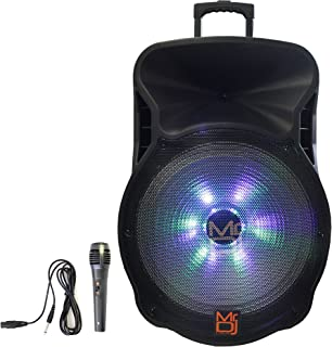 Mr. Dj DJ18BAT 18 Inch 5000W Max Power Speaker with Built-in Bluetooth & Battery, 1