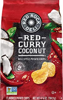 Red Rock Deli Style Potato Chips, Red Curry Coconut, 7 Ounce
