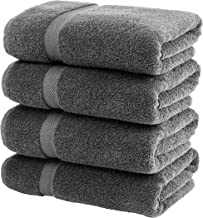White Classic Luxury Bath Towels Large | 4 Pack | Grey