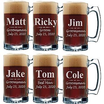 Set of 3, Set of 5 Set of 7 and more Personalized Groomsmen Beer Glasses - Custom Engraved Groom, Best Man Gift Mugs - 3 Lines Style 12 oz (6)