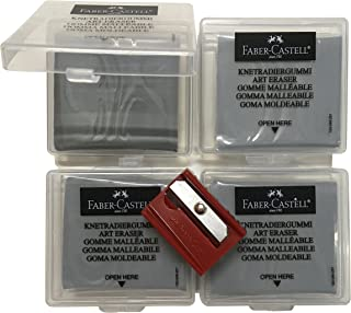 Faber-Castell Kneaded Art Pencil Eraser with Case [Pack of 4] + 1 Faber-Castell Sharpener