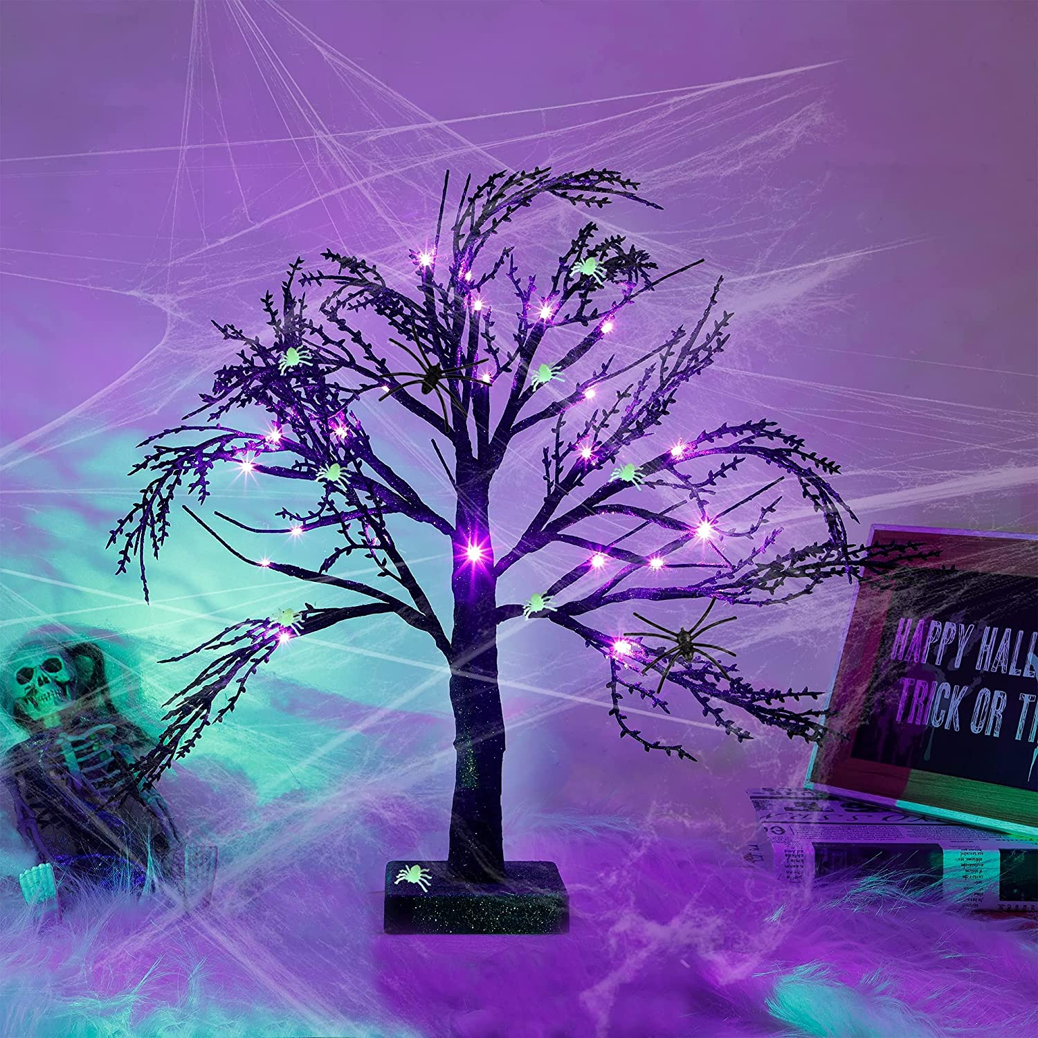 Happy OFFicial Trees Halloween Black Spooky Tree Max 68% OFF with Light LED 24 Purple