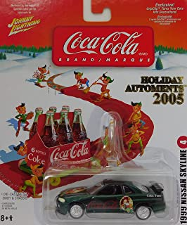 Johnny Lightning 1999 Nissan Skyline (Santa Claus Print) Coca-Cola 6 Pack Card with Elves Holiday Automents 2005 Edition #6 1:64 Scale die-cast