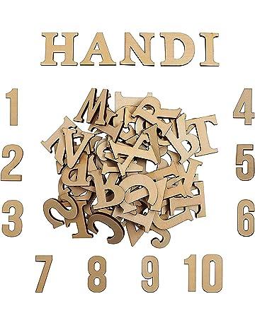 Letras y números para artesanía en madera | Amazon.es