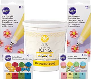 Wilton Colorful Icing Kit for Decorating Cupcakes, Cookies, and Cakes - Decorator Icing, Piping Bags, and Gel Food Colors