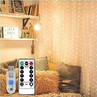 Guirlande Lumineuse Rideau 300 LEDs,3M * 3M Rideau Lumineux USB,8 Modes d'Eclairage,étanche,pour la décoration de l'éclair...