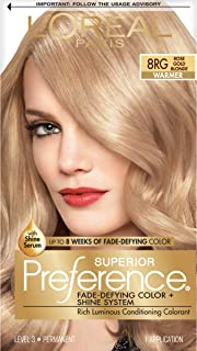 L'Oreal Paris Superior Preference Fade-Defying Color + Shine System, 8RG Rose Gold Blonde(Packaging May Vary)