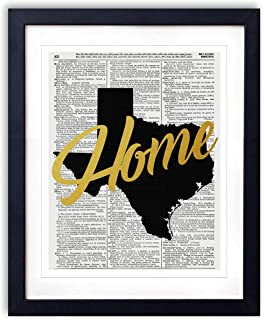 Texas Home Gold Foil Art Print - Vintage Dictionary Reproduction Art Print