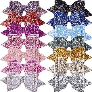 SIQUK 14 Pieces Glitter Hair Bows 5 Inch Hair Bow Boutique Hair Clips Multi Color Sequins Big Hair Bows For Girls Teens (Bonus:1 Storage Bag)
