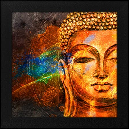 Story@Home Synthetic Wood Framed Beautiful Design 'Meditating Lord Buddha' Modern Wall Art Painting for Decorating Living Room, Bedroom, Drawing Room, Hall Ready to Hang (30 cm x 3 cm x 30 cm)