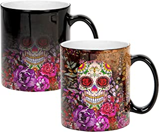 Sweet Gisele | Sugar Skull Ceramic Mug | Heat Activated | Color Changing Coffee Cup | Floral Pattern | Reveals Vivid Colors | Great Novelty Gift | Black | 11 Fl. Oz