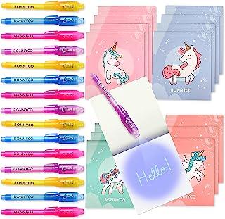 BONNYCO Penna Invisibile e Taccuino, 16 Pezzi Unicorno Gadget Compleanno Bambini, Bomboniere Compleanno, Giocattoli Pignat...