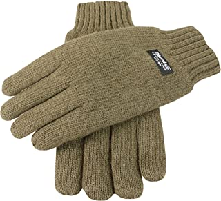 Dents Men's 100% Wool Knit Gloves With Elasticated Rib Knit Cuff & 3M Thinsulate Lining