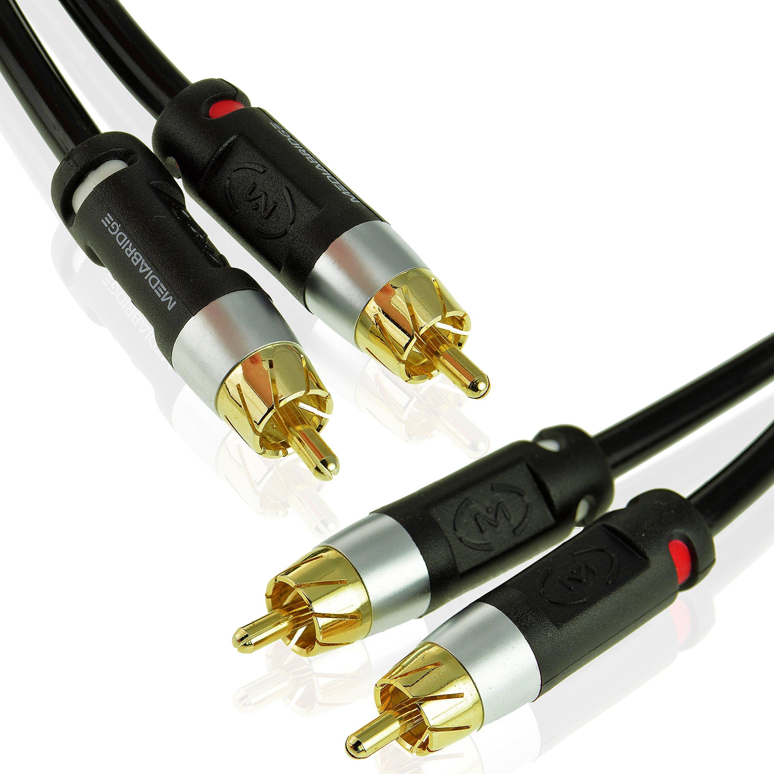 Mediabridge Ultra Series RCA Y-Adapter 15 Feet Dual Shielded CYA-1M2M-15B - for Digital Audio or Subwoofer Black -
