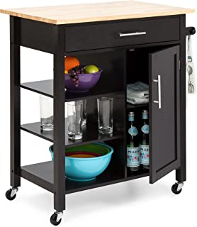 Best Choice Products Utility Kitchen Island Cart w/Wood Top, Drawer, Shelves and Cabinet for Storage, Espresso