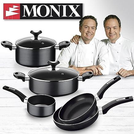 Monix Resistent Plus Batería De Cocina De 5 Piezas Y Lote De 2 Sartenes, Aluminio