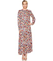 LOVE Moschino - Ankle Length Floral Zip Neck Dress