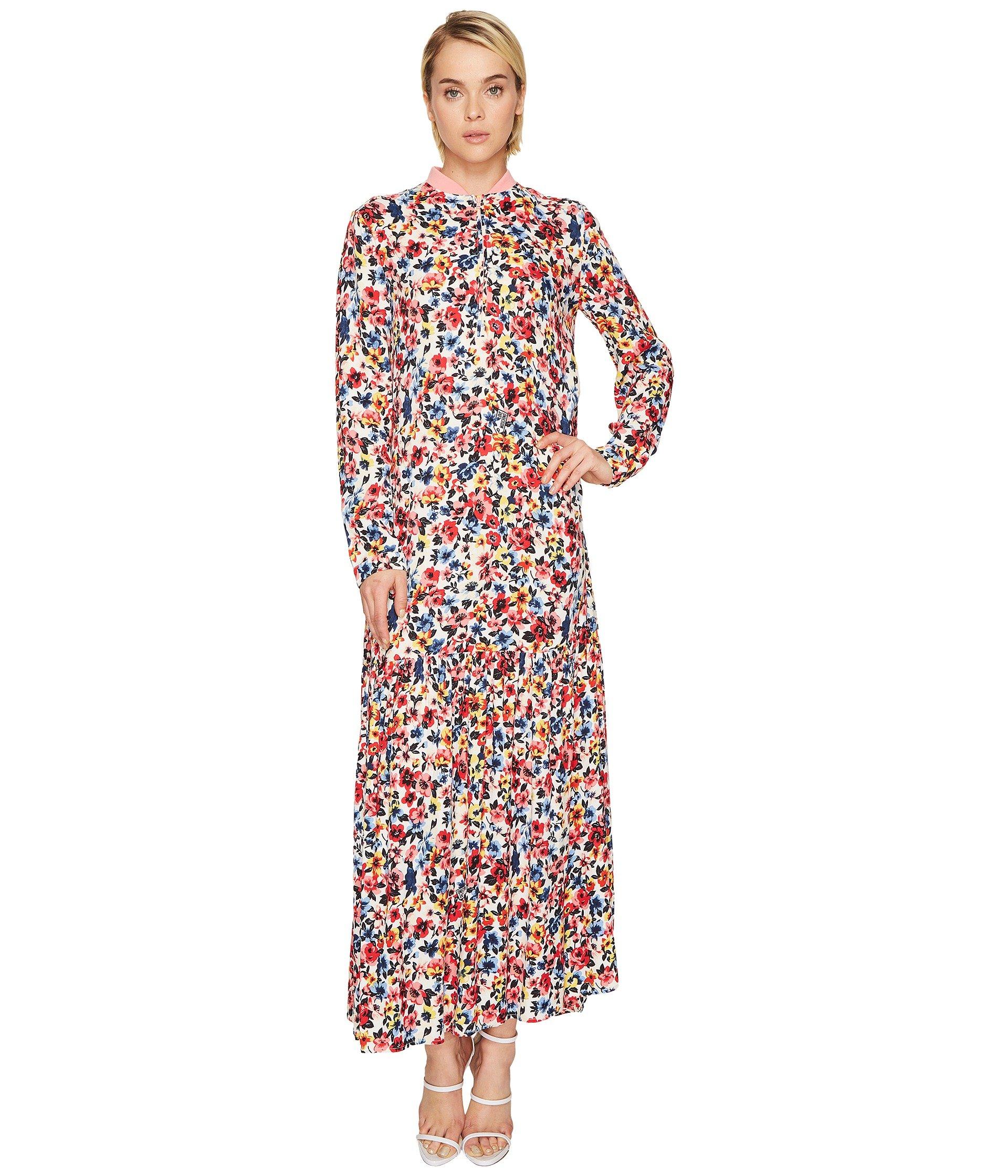 Ankle Length Floral Zip Neck Dress