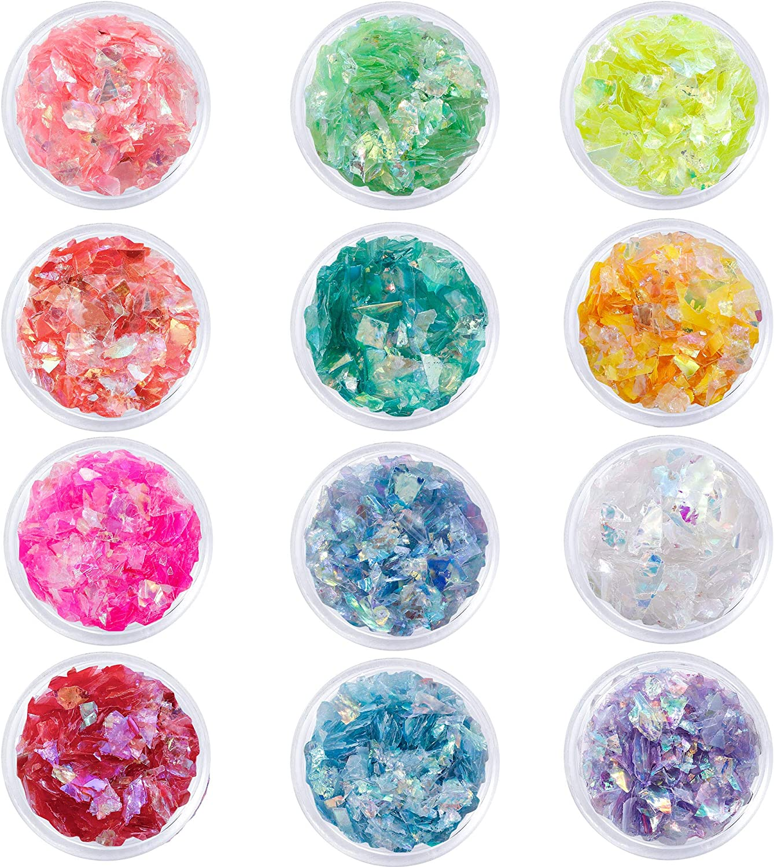 Lentejuelas Uñas Purpurina Polvo Uñas Nail Polvo Lentejuelas Irregular Chunky Glitter Papel de Vidrio para Uñas Ojos 12 colores