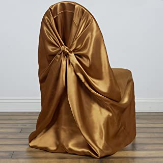BalsaCircle 10 pcs Gold Universal Satin Chair Covers Slipcovers for Wedding Party Ceremony Reception Decorations