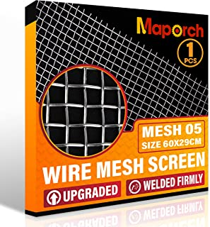 "304 Stainless Steel Mesh Screen Woven Metal Type Mesh 5 Wire 29cm x 60cm (23.6"" x 11.4"") for Vent, Animal Cage Net, Security, Cabinets Mesh 5 (1PCS)"
