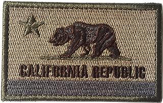 California Flag Bear Symbol Tactical Morale Military Emblem Hook and Loop Patch (B-Coyote)