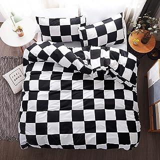 LAMEJOR Duvet Cover Set Queen Size Plaid/Grid Pattern Geometric Checkered Hotel Luxury Soft Bedding Set Comforter Cover (1...