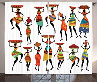 """Ambesonne African Curtains, Pattern Cool Women Carrying Some Ornaments on Their Heads Artprint, Living Room Bedroom Window Drapes 2 Panel Set, 108"""" X 84"""", White Orange"""