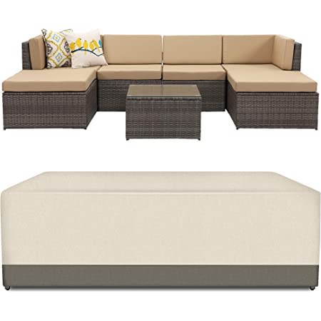 """Dineli Outdoor Sectional Patio Sofa Covers Waterproof and Water Resistant 120""""L x 61""""W x 24.4""""H Heavy Duty 600D Rectangular Furniture Covers Olive Green"""