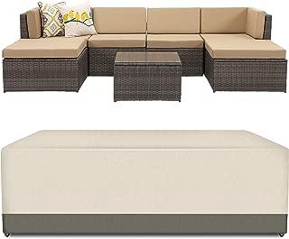 Wisteria Lane Veranda Patio Furniture Waterproof Durable Cover,Suit for 7 Piece Outdoor Sectional Sofa (Beige & Brown)