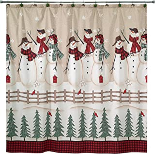 Avanti Linens Holiday Fabric Shower Curtain, Snowman Gathering Print with Buffalo Plaid Border, 72 x 72 Inches