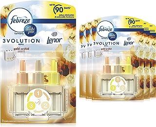 Febreze Ambi Pur 3Volution Air Freshener Plug-In Diffuser Refill, 120 ml (20 ml x 6), Odour Eliminator, Gold Orchid