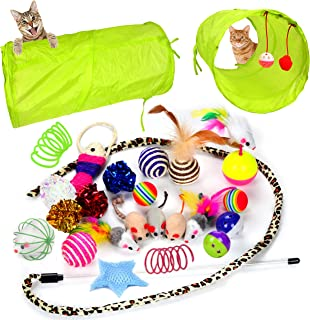 Youngever 24 Cat Toys Kitten Toys Assortments, 2 Way Tunnel, Cat Feather Teaser - Wand Interactive Feather Toy Fluffy Mouse, Crinkle Balls for Cat, Puppy, Kitty, Kitten