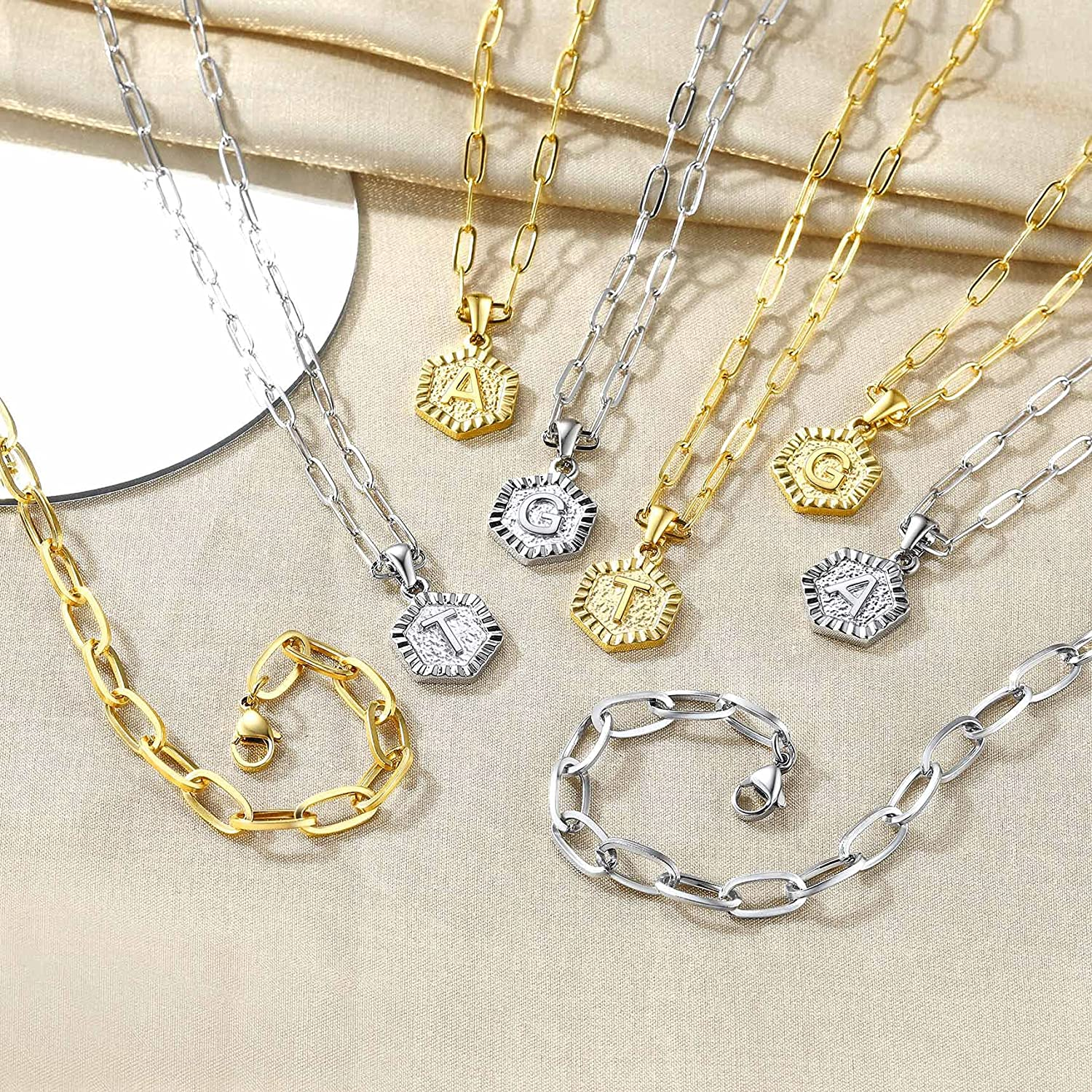 Bestyle Layered Initial Necklaces for Women Girls, Two Hypoallergenic Stainless Steel/ 18K Gold Plated Paperclip Chain Choker Necklaces, Dainty Cute Letter Pendant Statement Jewlery Gift