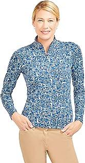 J.McLaughlin Womens Bedford Long Sleeve Top in Mini Magnetic Geo in Blue