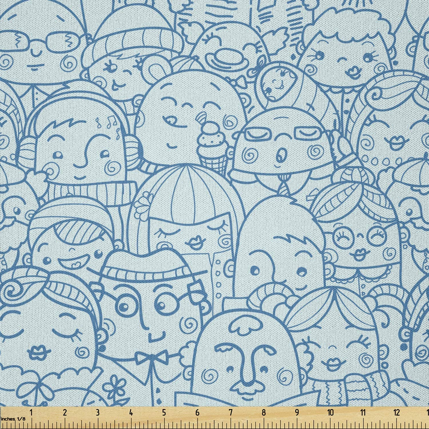 Ambesonne People Fabric by Excellent The Yard Crowd Super-cheap Men in Shapes a Funny