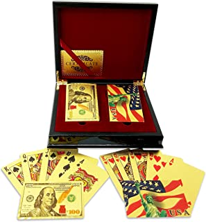 Big Texas Mall 24k Gold Poker Playing Cards w/2 Deck Mahogany Gift/Display Box w/2 Gold Bitcoin Coins Professional Qlty, Ben Franklin 100 Bill & American Flag Gold Foil Plated Prestige Set w/Cert.